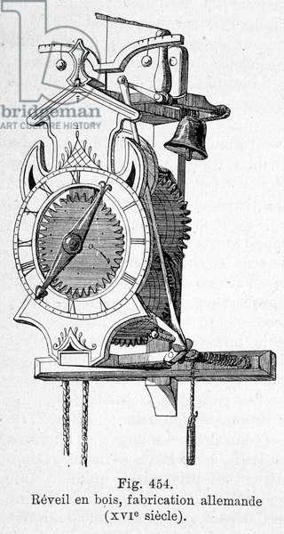German made wooden alarm clock, 16th century
