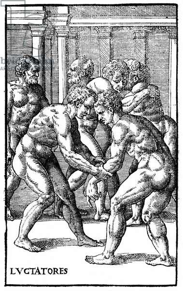 """Roman wrestlers - in """"Hieronymi Mercurialis de Arte Gymnastica"""""""", Venice edition, 1573."""