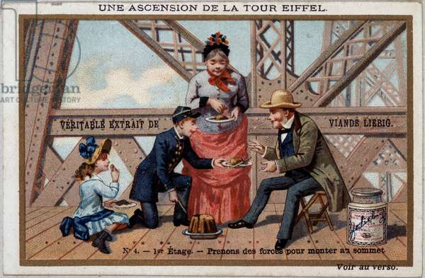 An ascent of the Eiffel Tower: one takes forces on the 1st floor - chromo. Liébig, deb. 20th century