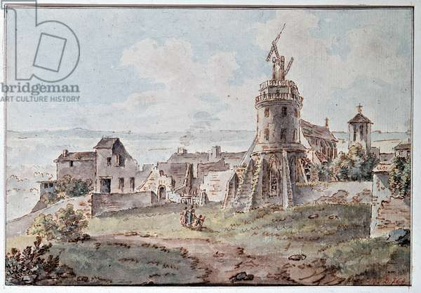 A Chappe telegraph at the top of a tower, by Goblain, late 18th century