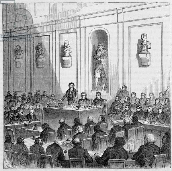 """Arago announces the discovery of Daguerre, in the public session of the Academy of Sciences of August 10, 1839 - in """""""" The wonders of science"""""""", by Louis Figuier, 19th century"""
