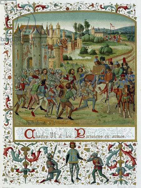 """Preliminary negotiations commenced in the name of the king by the connetable, Sire Albret, Sire de Coucy, Guy de la Tremoille, Jean de Vienne, with the Parisians, before the entry of Charles VI in Paris in 1383 - chromolithography after the illumination from the """"Chronicles de France"""" by Froissart, Bibliotheque 26Nationale, French Manuscript 44 fo 265"""