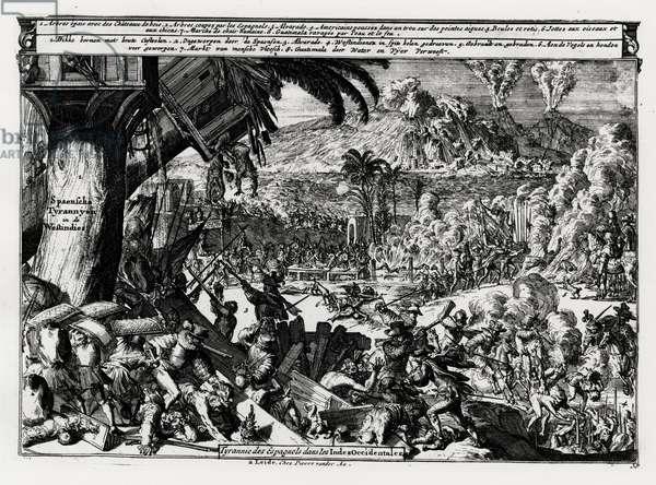 """Guerre - in """"Les Indes Orientales et Occidales"""", Sr. Romain de Hooge, ed. Pierre Vauder, Leide."""