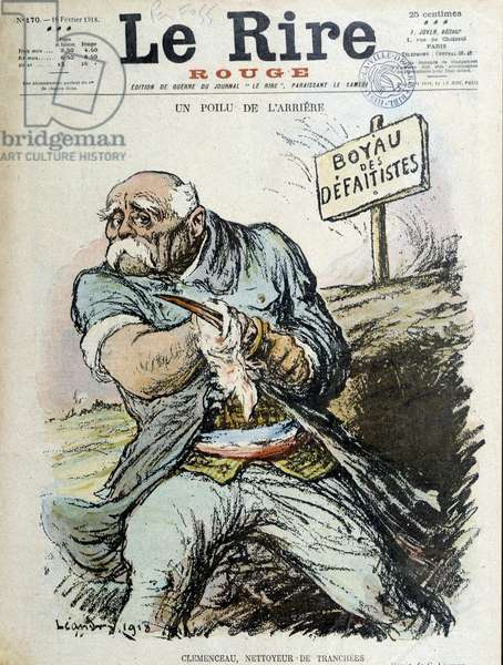 "A hairy rear: Clemenceau, Trench cleaner. Cover """" The Laughter"""" from 16/02/1918"