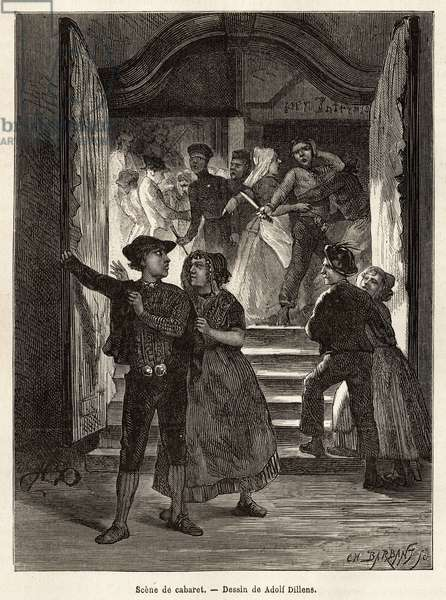 """A cabaret scene, a couple leaves the scene, while a man threatens them with a knife, held by two women; while another couple faces them when entering the cabaret, engraving after the drawing by Adolf Dillens, illustrating a journey to Zelande (Neerlande), in 1873, by Charles de Coster, published in """"Le tour du monde"""""""" 1874, under the direction of Edouard Charton, Hachette edition, Paris. Selva Collection."""