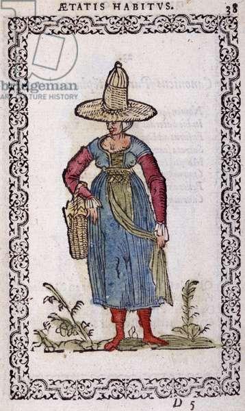 "Rustic Woman of Bresse - in """" Habits et effigies"""" by Jean Sulperius, 1572"