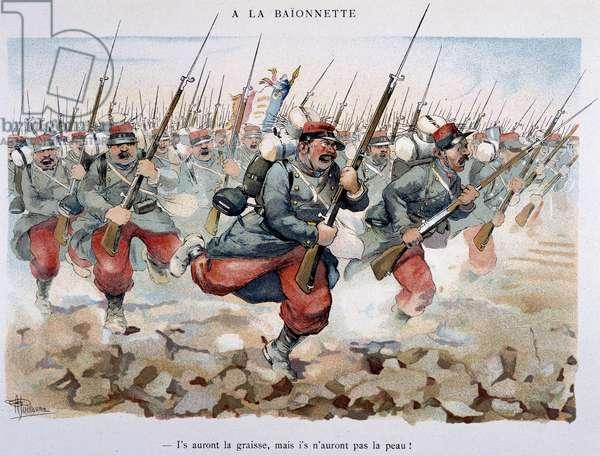 """A la baionette - in """""""" Album militaire"""""""" by Albert Guillaume (1873-1942), circa 1900"""