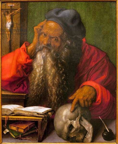 Saint Jerome - Painting by Albrecht Durer (1471-1528), oil on wood, 1521 (St Jerome, by Albrecht Durer, oil on panel, 1521) - Museum of Ancient Arts of Lisbon (Portugal)