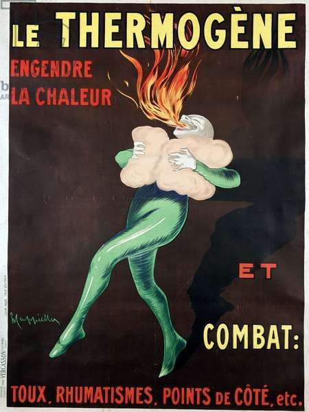The thermogen generates heat and fights cough, rheumatism, side points etc: poster by Leonetto Cappiello (1875-1942), 1926. A man warmed by the medicine spits out a flame. BN, Paris.