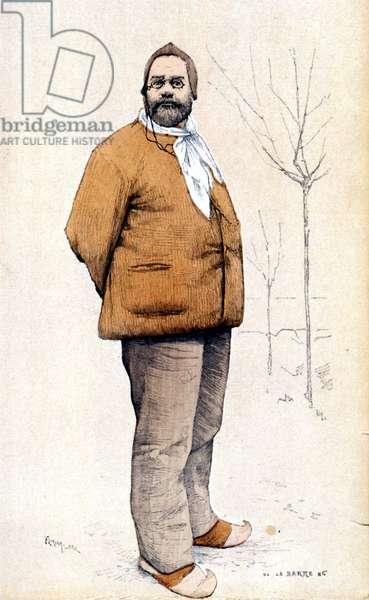 Portrait in foot of Emile Zola. 1886.