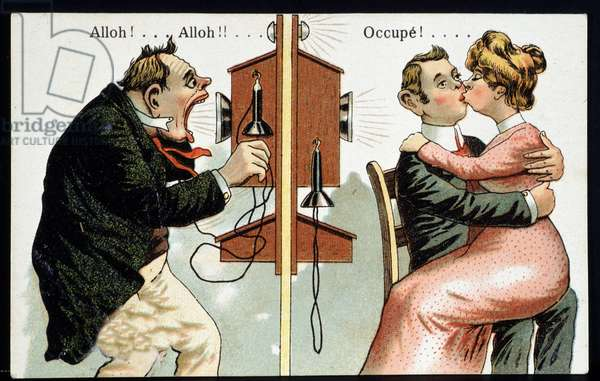 Humorous postcard on the phone, deb. 20th century.