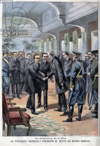 On September 1, 1905, the Portsmouth Peace Treaty was signed between the Japanese Baron Komura and the Russian Witte, thanks to the President of the United States Theodore Roosevelt.