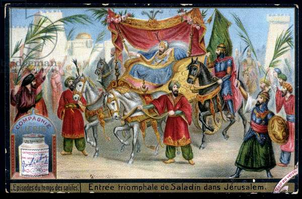 Triumphant entry of Saladin (1138-1193) (Salah al Din Yusuf al-Ayyubi (al Ayyubi) into Jerusalem in 1187. chromo. Liebig, deb. 20th century
