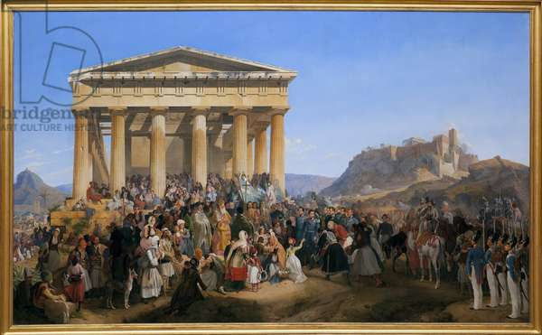 The entrance of King Othon I of Greece (1815-1876) to Athenes, welcomed by the crowd in front of the temple of Hephaistos (Hephaisteion) (Hephaestus) or Theseion on Agora (Greece, 1834). Painting by Peter Von Hess (1792-1871), Oil On Canvas, 1839. German Art, 19th century. Neue pinakothek, Munich (Germany).