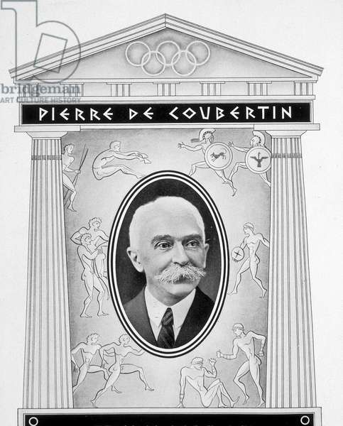 "Portrait of Pierre de Coubertin - in """" Olympia 1936""""."