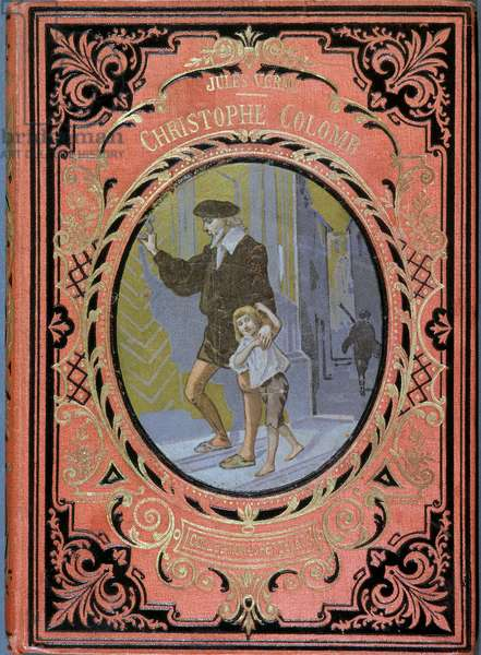 """Christophe Colomb (Cristoforo Colombo) and a child, - in """""""" Christophe Colomb"""""""" by Jules Verne, ed. Hachette, 19th century"""