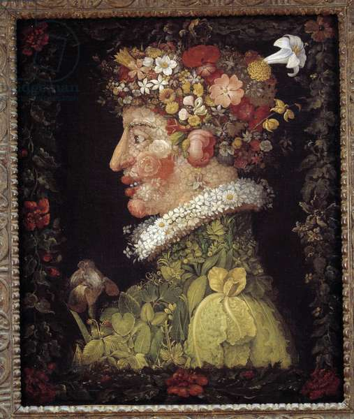 Spring. Allegory about the seasons. Painting by Giuseppe Arcimboldo (1527-1593). Louvre Museum