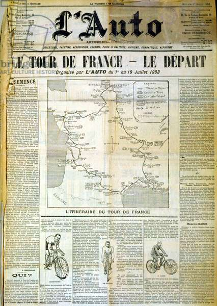 """Map of the Tour de France - in """""""" L'Auto"""""""" from 01/07/1903"""