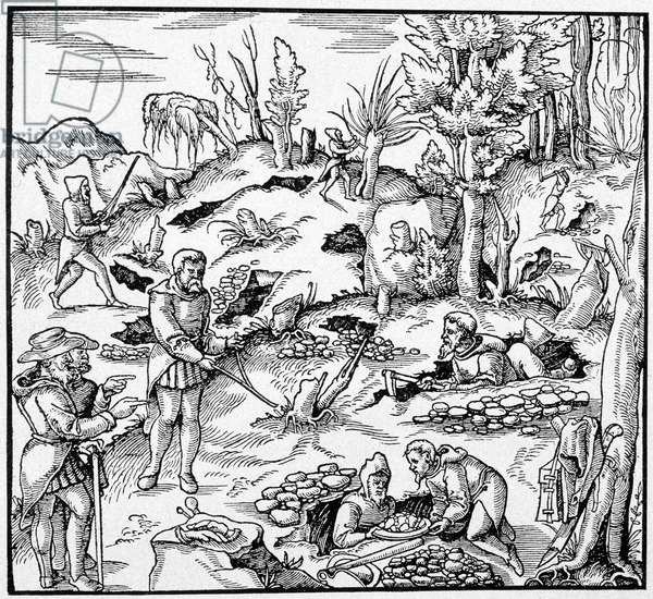 """Use of the magic bucket to search for the treasures of the earth - in """"The Book of Mines"""""""" by Agricola, 1580"""