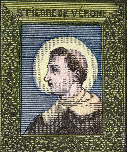 """Saint Peter of Verona Dominican priest martyr (died 1252). Engraving in """""""" Great album of images en couleur pour l'explanation du catechisme approves by his eminance Cardinal Perraud"""""""", by Abbe Mouterde, beginning 20th century. Private Collection"""