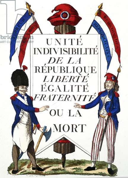 "Republican closet """" Unite indivisibilite de la Republique, Liberte Egalite Fraternite, ou la mort"""" Symbols of the French Republic: tricolor flag, phrygian cap and cockade. 1794."