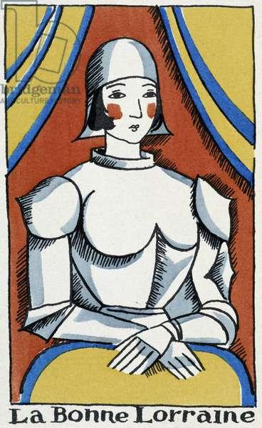 """La bonne Lorraine: Joan of Arc - in """"Reims"""", 1918 (gouache)"""