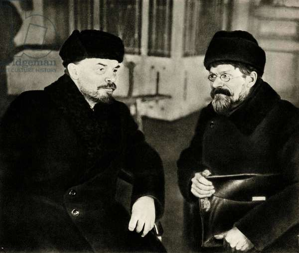Lenin (Vladimir Ilyich Ulyanov said, 1870-1924) and Mikhail Kalinin (1875-1946) at the House of Trade Unions during the 1st Congress of Cossacks Workers of Russia, Moscow, 1 March 1920 -