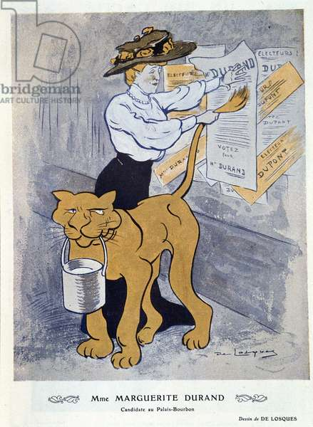 Marguerite Durand pasting her election poster, illustration from 'Fantasio', 1st April 1910 (colour litho)