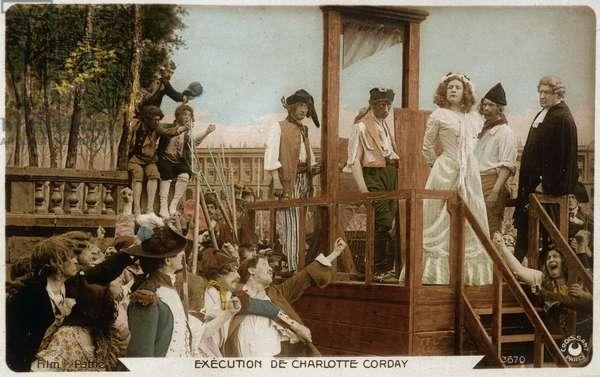 Reenactment of Charlotte Corday - postcard, 20th century