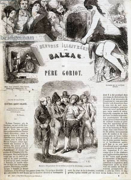 "Title page of the original edition of Balzac's novel """" The Father Goriot"""" in """" Illustrated works of Balzac"""": """" Goriot was president of the section during the revolution"""" . ¿"