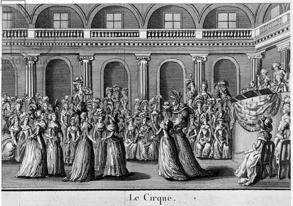 "Le cirque: femmes de la nobility dancing - in """" les filles du Palais royal"""", frontispiece, volume II, ed. London, 1792."