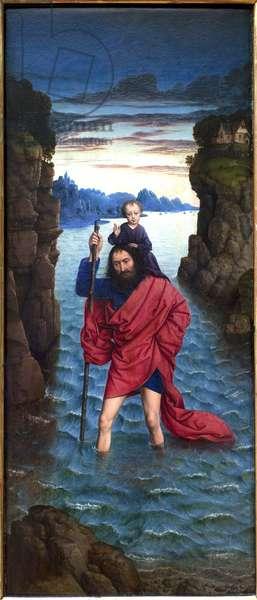 Saint Christopher. Anonymous painting, oil on wood, primitive, 16th century. Munich, Alte Pinakothek (Germany).