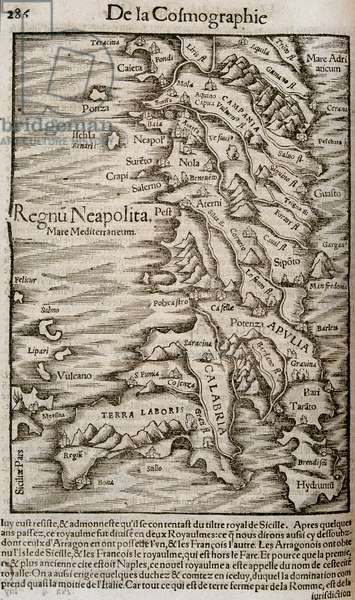 """Map of Italy - in """""""" Universal Cosmography"""""""", 1552"""
