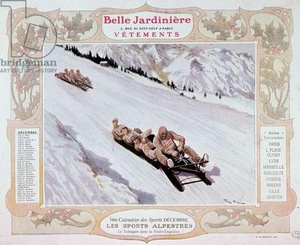"""Alpine sports: the slide (kind of toboggan or bobsleigh?) - in calendar """""""" la Belle Jardinière"""""""", 1906, Musée Carnavalet."""