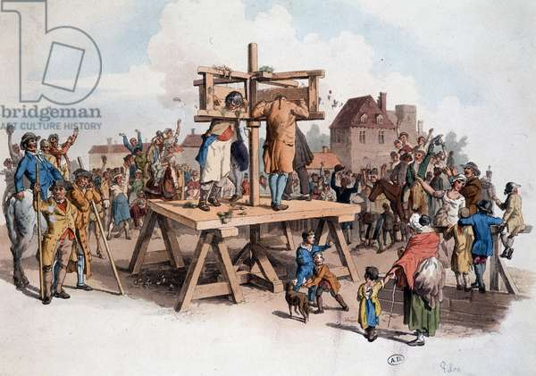 Instrument of torture: revolving pillory on which the crowd throws rotten legumes on a town square. Engraving from 1805. Bilbiotheque of Decorative Arts.