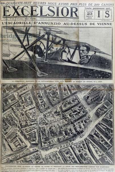 "Annunzio squadron above Vienna - in """" Excelsior"""" of 23/08/1918"
