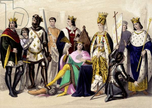 The Capetians of the Valois from 1328 to 1422. Philip VI, John II, Charles VI, Isabeau (Isabella, Elizabeth) of Bavaria, Joan of Arc, Charles VII. Engraving of the 19th century.