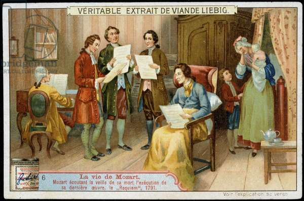 Wolfgang Amadeus Mozart (1756-1791), hearing the execution of his last work, the Requiem, 1791 - advertising label Liebig, Chromolithography v.1900