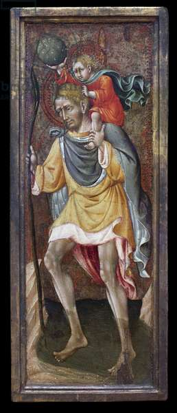 Saint Christopher carrying Jesus Christ on his shoulders. Painting by Giovanni Di Paolo Di Grazia (Giovanni dal Poggio, 1399-1482), tempera on poplar, between 1450 and 1460. Italian Art, 15th century, Sienese Renaissance. Staatsgalerie, Stuttgart (Germany).
