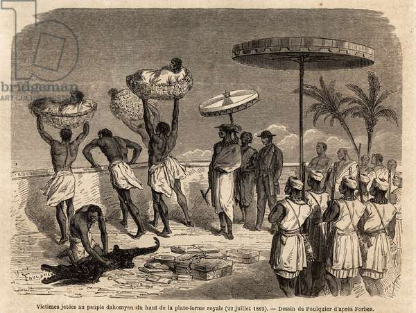"""The prisoners of war sacrificed by the king in Abomey (present-day Benin) were thrown to the people of the top of the royal platform, drawing by Jean Antoine Foulquier (1822-1896), to illustrate Dr. Repin's journey to Dahomey in 1860. Engraving in """""""" Le tour du monde"""""""", edited by Edouard Charton, 1863. Selva's collection."""