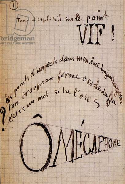 """Calligram by Guillaume Apollinaire - in """""""" Du coton dans les oreilles"""""""", autograph manuscript of 17 leaves, 1948"""