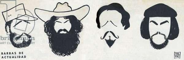 """Cartoons of the bearded, Fidel Castro (1926), Camillo Cienfuegos (1932-1959), Jose Marti (1853-1895) and Che Guevara (1928-1967). in """""""" Bohemia"""""""", January 18-25, 1959, Cuba."""