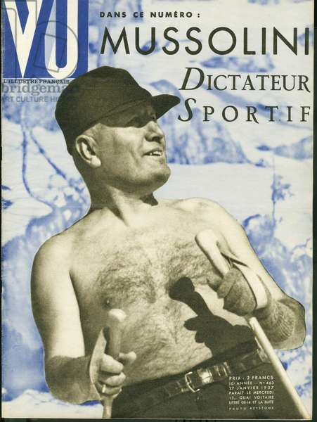 A sports dictator: Benito Mussolini (1883-1945), Italian Prime Minister, founder of fascism, bare touring. Keystone photograph for the cover of the weekly VU, director Lucien Vogel (1886-1954), number 463, date 27/1/1937. Selva Collection.