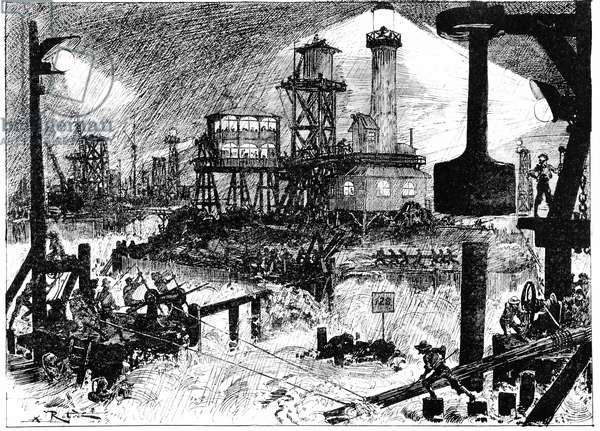 """Science Fiction: The construction of the sixth continent - in """""""" the twentieth century"""""""" by A. Robida, engraving, 1883, B.N."""