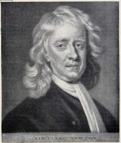 Portrait of Isaac Newton closely the original preserved at the Berlin Observatory.