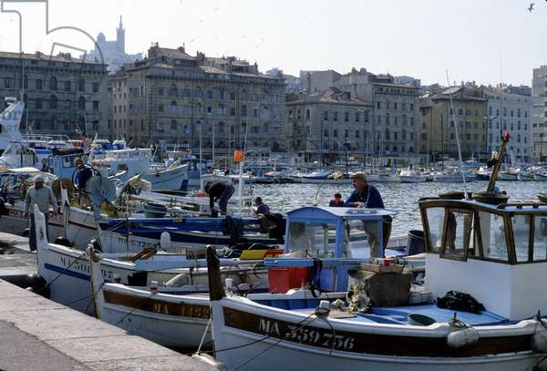 """Port of Marseille. """"Pointed"""" boats in the foreground."""