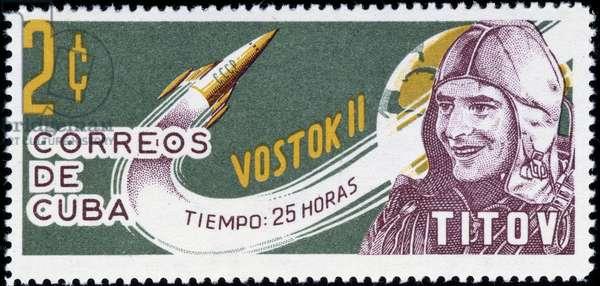 Cuban stamp on astronaut Titov