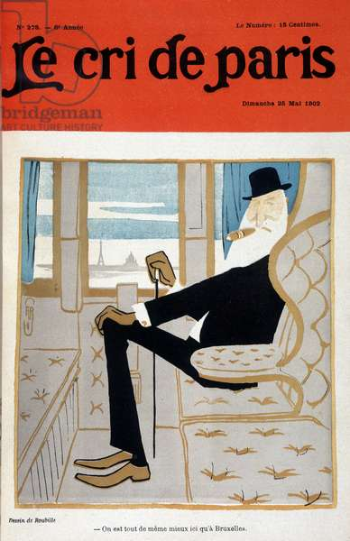 """Leopold II in a train by Auguste Roubille (1872-1955) - in """""""" Le Cri de Paris"""""""""""" of 25/05/1902. Careful! Use of this work may be subject to a third party authorization request or additional fees"""