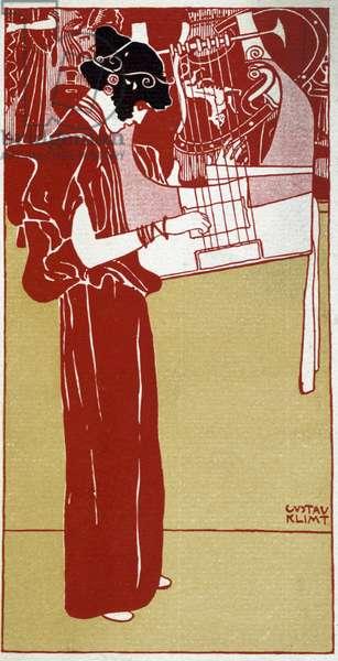 Music - drawing by Gustav Klimt, deb. 20th century