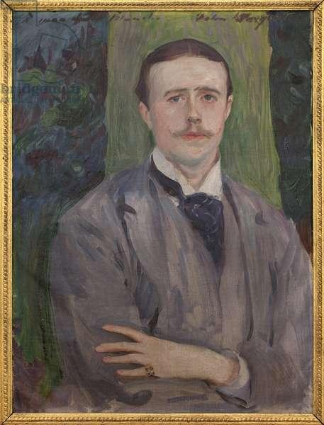 Portrait of Jacques Emile Blanche (1861-1942). Painting by John Singer Sargent (1856-1925), oil on canvas, 20th century french art. Musee des beaux arts de Rouen.